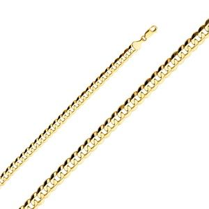 14k Yellow 8.2mm Cuban Concave Chain - 22""
